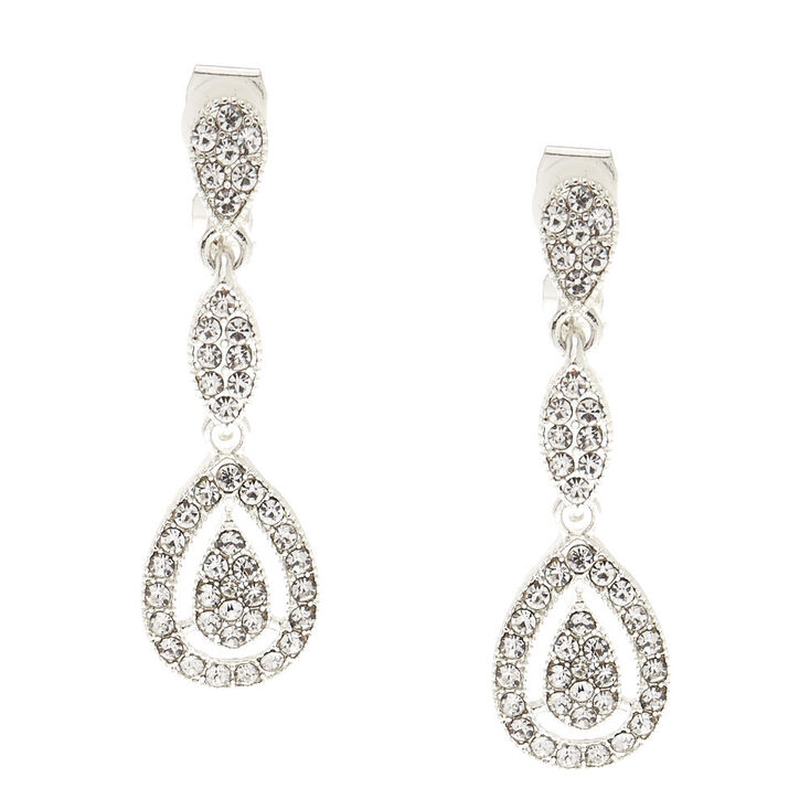 Silver Tone Faux Crystal Teardrop Clip on Drop Earrings,