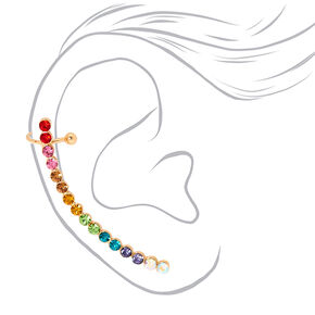 Ombre Mismatched Crawler Earring Set - Rainbow,