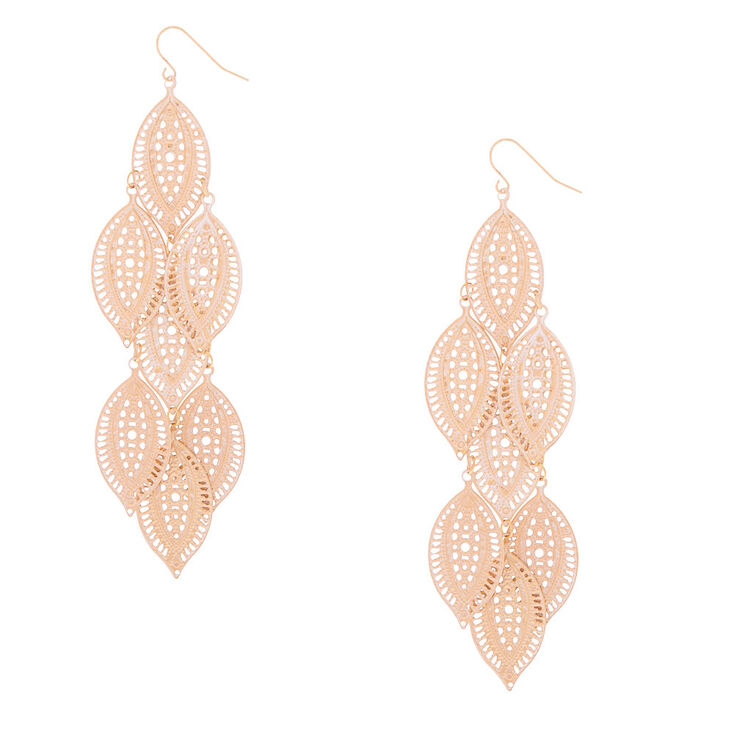 "Gold 4.5"" Filigree Leaf Drop Earrings,"