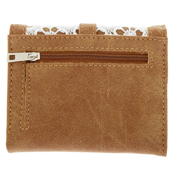 Trifold Crochet Wallet - Brown,