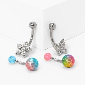 14G Blue & Pink Tie Dye Crystal Belly Rings - 4 Pack,