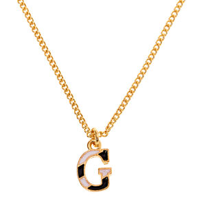 Gold Striped Initial Pendant Necklace - G,