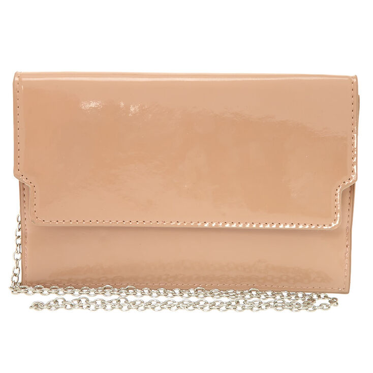 Nude Patent Clutch Purse,