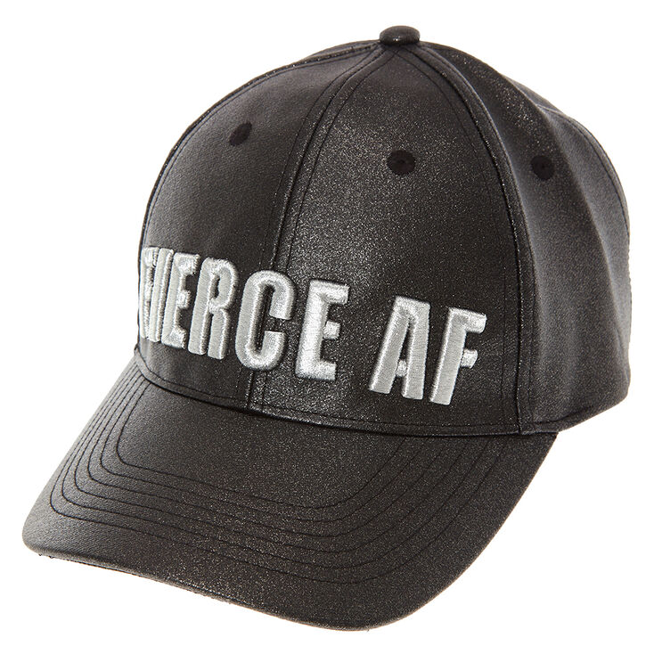 Black Glitter Fierce AF Baseball Hat,