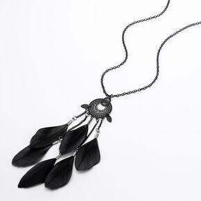 Medallion Feather Long Pendant Necklace - Black,