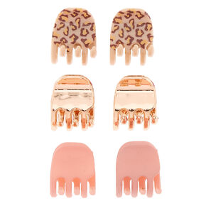 Rose Gold Leopard Print Mini Hair Claws - 6 Pack,