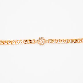 Gold Embellished Initial Chain Choker Necklace - S,
