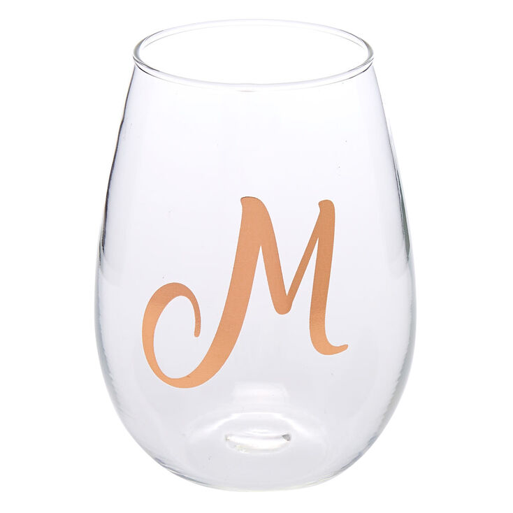 "Rose Gold-Tone ""M"" Initial Stemless Wine Glass,"