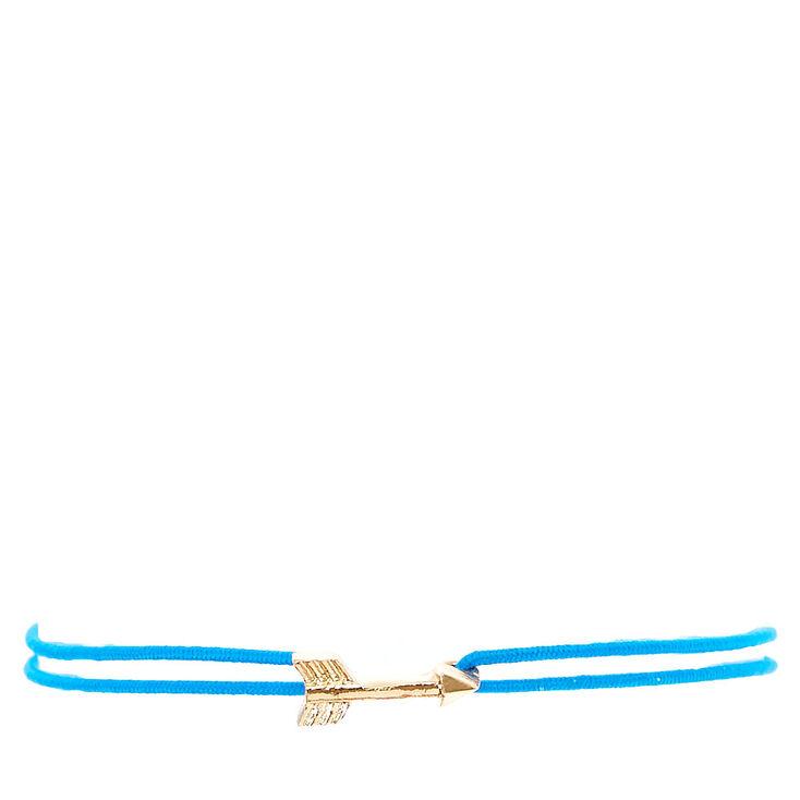 Blue Double Stretch Bracelet with Gold Arrow,