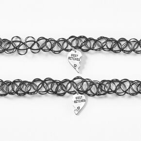 Best Friends Tattoo Choker Necklace Set - Black,