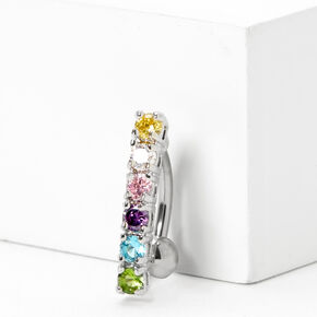 Silver 14G Rainbow Crystal Top Down Belly Ring,