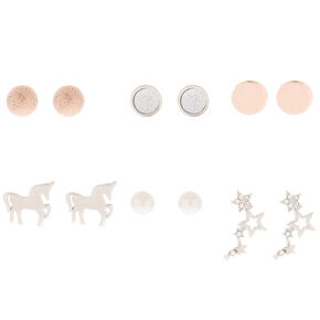 Mixed Metal Stud Earrings - 6 Pack,