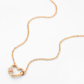 Gold Pearl Heart Pendant Necklace,