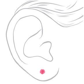 Mixed Metal Flower Stud Earrings - 9 Pack,