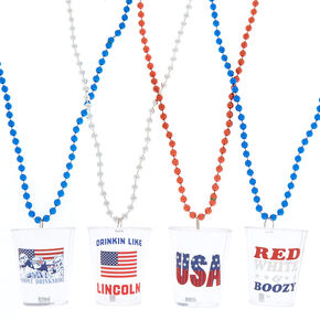 Shot Glass Beaded Necklaces - 4 Pack,