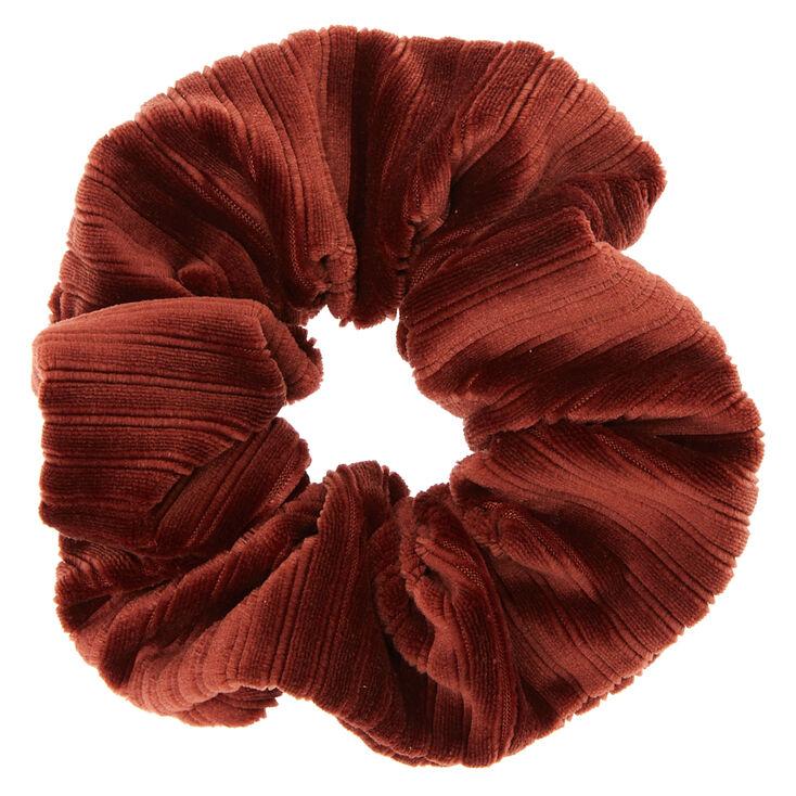 Ribbed Velvet Hair Scrunchie - Brown,