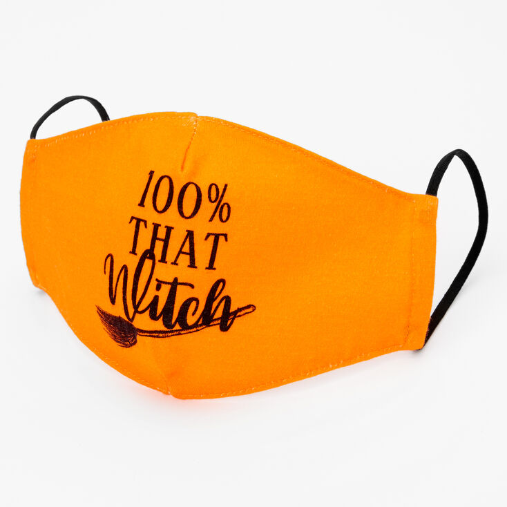 Cotton Black '100% that Witch' Face Mask - Adult,
