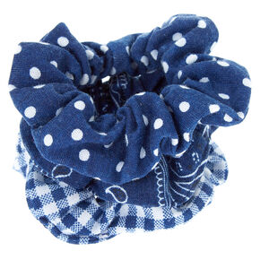 Bandana Print Mix Hair Scrunchies - Navy, 3 Pack,
