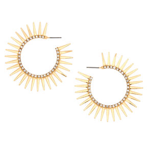 Gold 30MM Spike Hoop Earrings,