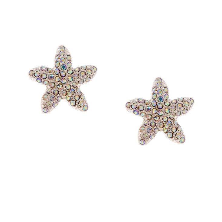 Aurora Borealis Crystal Starfish Stud Earrings,