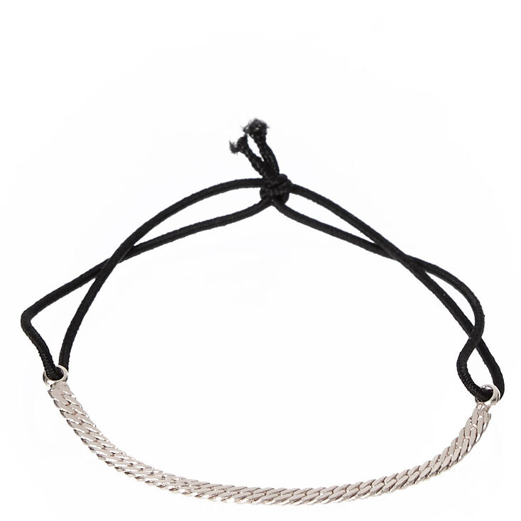Thin Silver Tone Chain Double Band Stretch Bracelet,