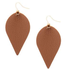 """Gold 2.5"""" Leaf Drop Earrings - Brown,"""