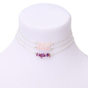 Silver Stone Choker Necklaces - 3 Pack,