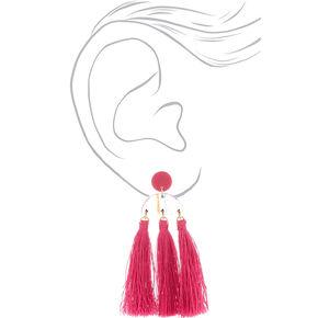 """Gold 3"""" Rainbow Striped Tassel Drop Earrings - Pink,"""