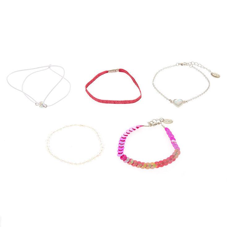 5 Pack Pink Romance Bracelet Set,