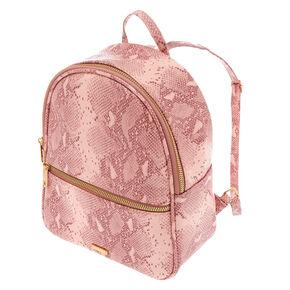 Snake Skin Midi Backpack - Pink,