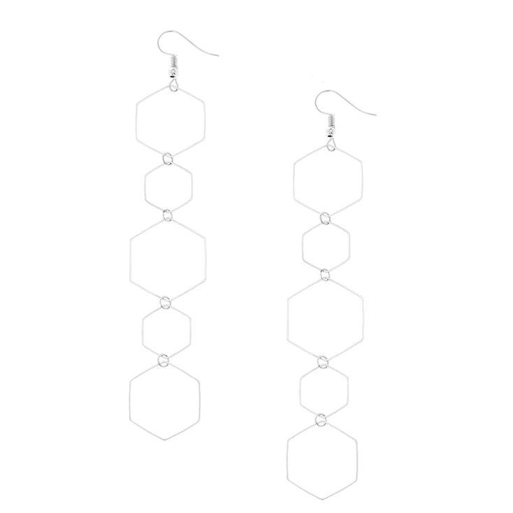 Silver Geometric Drop Earrings,