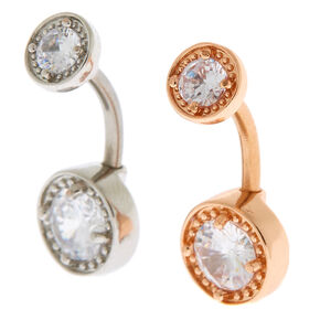 Mixed Metal 14G Bezel Stone Belly Rings - 2 Pack,