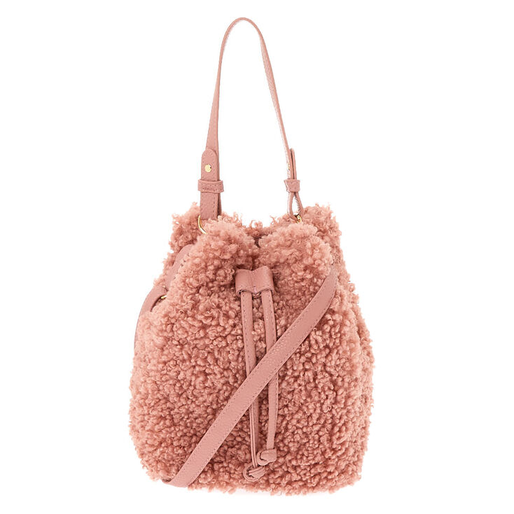 Sherpa Bucket Crossbody Bag - Pink,