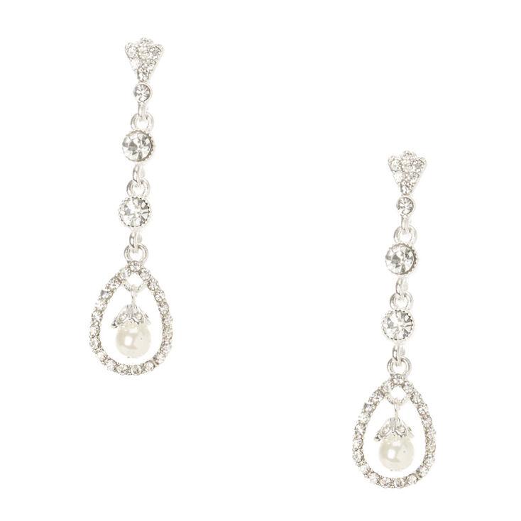 Crystal & Pearl Swing Drop Earrings,