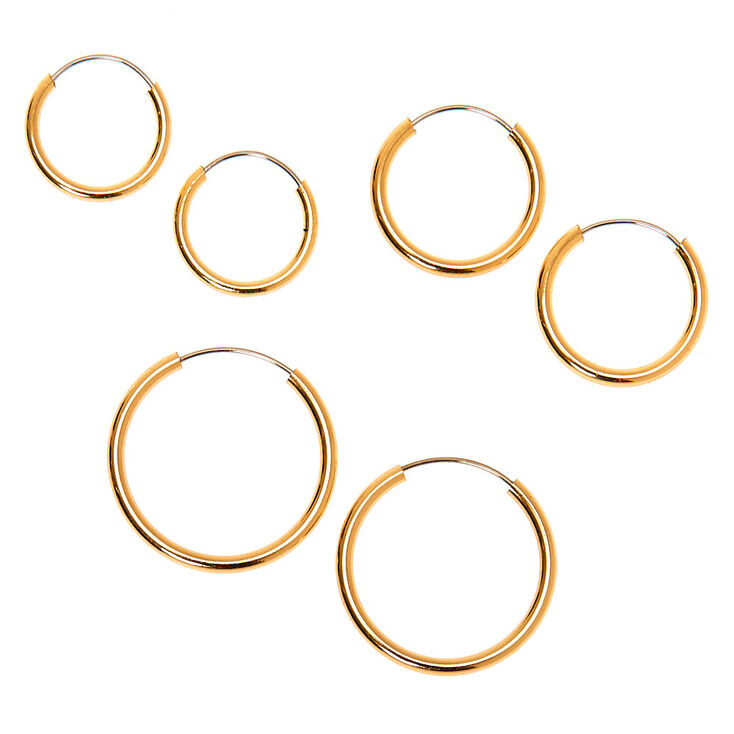 Gold Graduated Mixed Earrings - 9 Pack,