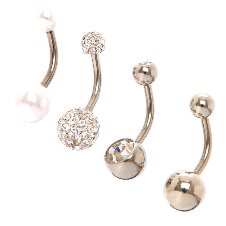 Silver 14G Rich Kids Belly Rings - 4 Pack,