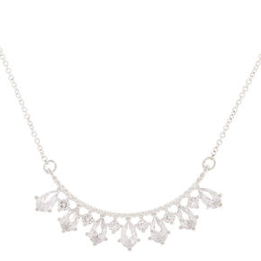 Silver Cubic Zirconia Fan Pendant Necklace,