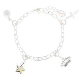 Silver Embellished Initial Bracelet Charm - D,
