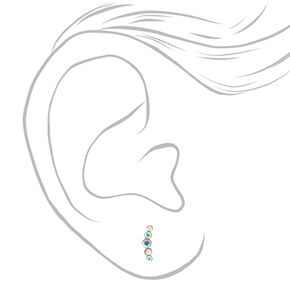 Sterling Silver Iridescent Crystal Crescent Earrings,