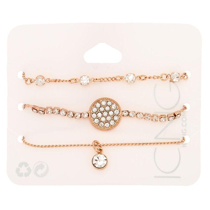 Rose Gold Rhinestone Adjustable Bracelets - 3 Pack,