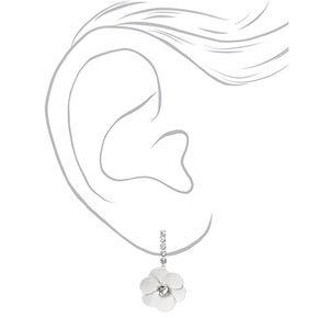 Silver Rhinestone Daisy Flower Y-Neck Jewelry Set - 2 Pack,