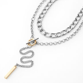 Mixed Metal Lariat Toggle Multi Strand Necklace,