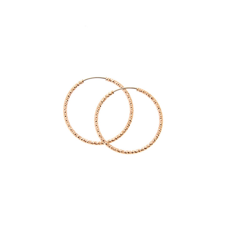 25MM Rose Gold-toned Sandblasted Hoop Earrings,