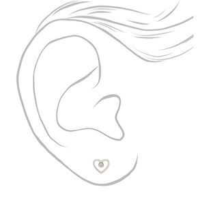 Sterling Silver Open Shape Stud Earrings - 3 Pack,