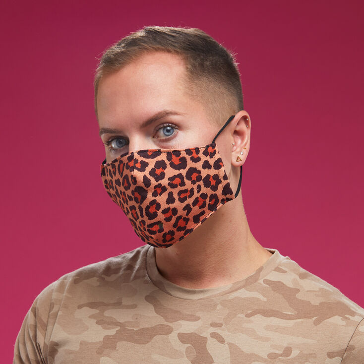 Cotton Brown Leopard Face Mask - Adult,