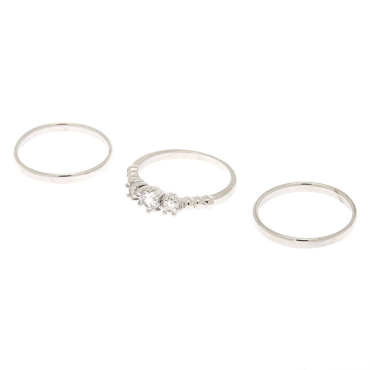 Silver Triple Cubic Zirconia Rings - 3 Pack,