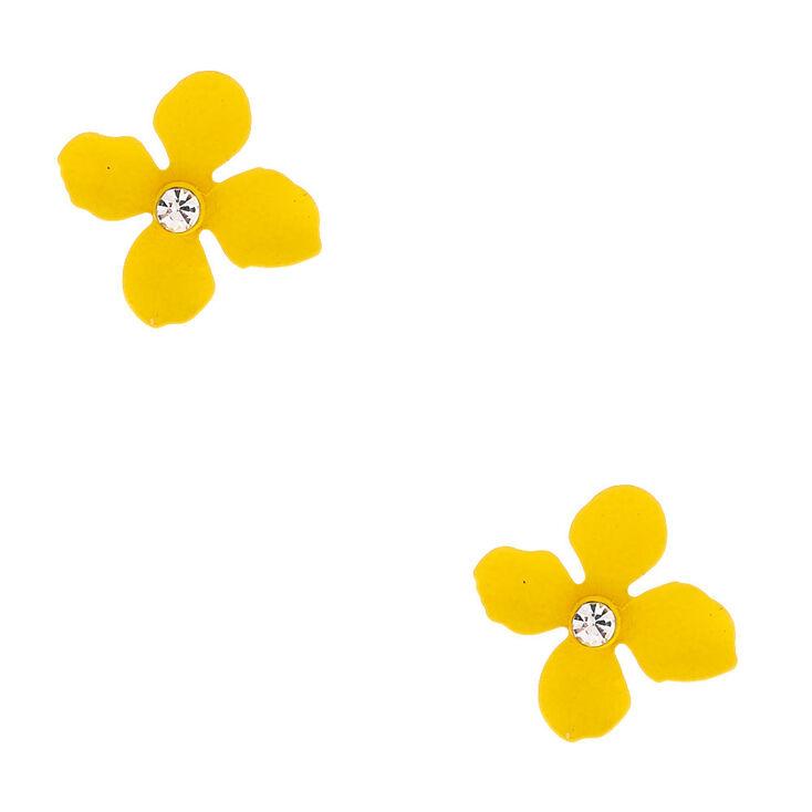 Silver Flower Stud Earrings - Yellow,