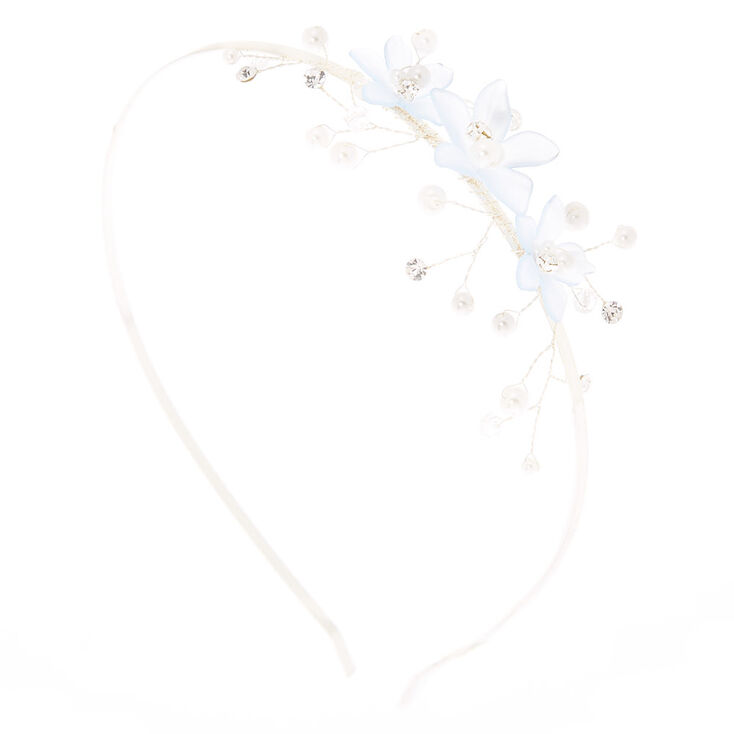 Silver Frosted Flower Headband - Blue,