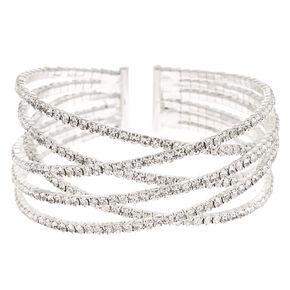 Silver Rhinestone Woven Cuff Bracelet,