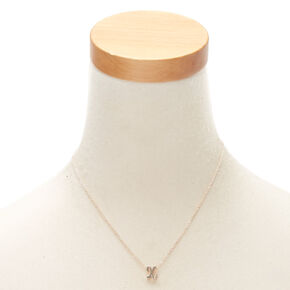 Rose Gold Cursive Initial Pendant Necklace - X,
